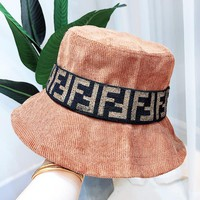 Fendi New fashion more letter print corduroy cap hat fisherman's hat Khaki