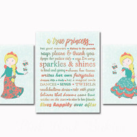 A true princess sign personalized little girls wall decoration nursery art Children's room decor princess rules good manners coral turquoise