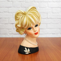 """NAPCO C7474 Large 8.5"""" Lady Head Vase, Blonde Updo, Green Eyes, Black Dress with White Floral Brooch, Authentic Vintage Collectible"""