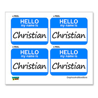 Christian Hello My Name Is - Sheet of 4 Stickers