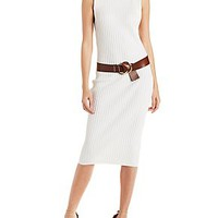 REHAB FUNNEL NECK BODYCON RIBBED MAXI DRESS