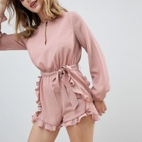 Glamorous Petite Romper With Frill Shorts And Tie Waist at asos.com