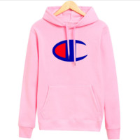 Champion new hooded autumn and winter sweater printing sweater Pink