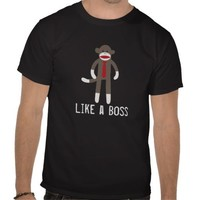 Funny Like a Boss Sock Monkey Tshirt from Zazzle.com