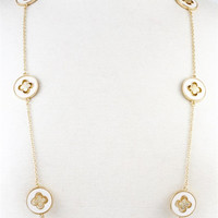 Flower Inspired Long Chain Necklace - White