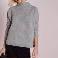 Missguided - Turtle Neck Slouched Crop Jumper Grey