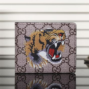 GG Man Leather Purse Wallet For Tiger Angry Cat Snake