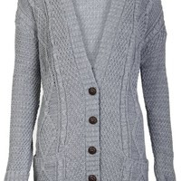 Aislinn Womens Cable Knitted Grandad Button Cardigan One Size (UK Fits 8-14) Grey