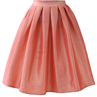 Coral A-line Midi Skirt Red S