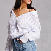 Striped Open-Shoulder Shirt