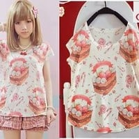 T02 Kawaii Cute lolita cartoon fantasy Lady GAGA barbie short sleeve Shirt