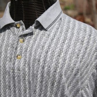 Mens Gray Short Sleeved Diamond Pattern Polo Rugby Collared Shirt Size XL
