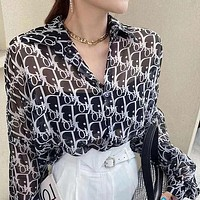 Dior classic full-printed letters men and women couple buttons long-sleeved shirt top