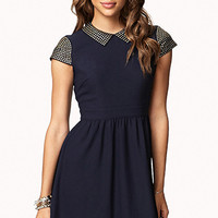 FOREVER 21 Studded Fit & Flare Dress Navy/Gold