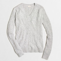 Factory wool-blend cable-knit V-neck sweater