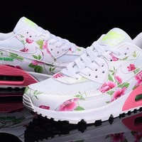 Tagre™ Nike Air Max 90 White Pink Green Flowers Custom Runing Shoes