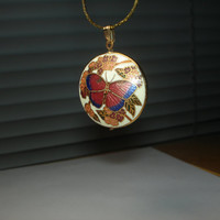 Double sided Goldtone Butterfly Cloisonne necklace
