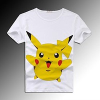 2016 Cartoon Pokemon Pikachu T Shirt For Men Women Print Short Sleeve Tshirts Fashion Clothing Anime Camisetas Christmas Shirt