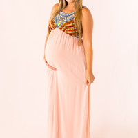 Embroidered Maternity Maxi in Blush