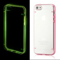 Luminous Glow in the Dark Hard PC Back Cover Case w/ Pink TPU Frame for iPhone 5