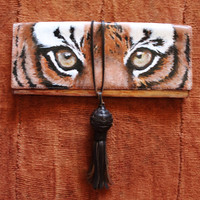 Clutch purse, tassel, leather, hand painted, tiger eye design. Banana Republic bag, upcycled.