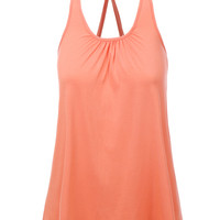 LE3NO Womens Loose Pleated Halter Racerback Tank Top (CLEARANCE)