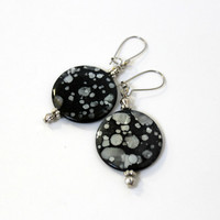 Black and Silver Speckled Shell Dangle Earrings on Kidney Earwires - Bold Handmade Statement Jewelry - Ready to Ship