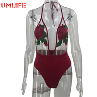 Backless Swimwear Women Rose Embroidery Swimsuit One Piece Swimwear Lace Beachwear Bathing Suit Bodysuit Swimming Wear 2017