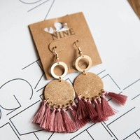 Circle Thread Tassel Earring, Mauve