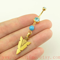 gold Arrow head Belly Button Rings,turquoise Navel Jewlery,Arrow belly ring,friendship jewelry, Arrow head bellybutton jewelry,oceantime