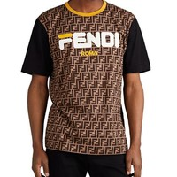 FENDI Classic Fashion Women Men Print Round Collar T-Shirt Top