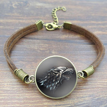 Fashion Glass Cabochon Vintage Brown Rope Bracelet Movie Of Ice and Fire Game of Thrones Stark Wolf Charm Bracelet