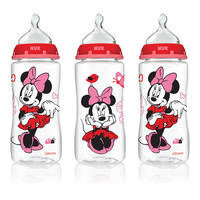 NUK Disney Baby Orthodontic 10 Ounce Bottles with Medium Flow Silicone Nipples 3 Pack - Minnie Mouse