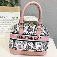 Dior woven embroidery letters ladies shopping shell bag handbag shoulder bag Pink&White