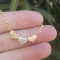 Three Hearts Necklace - Tri Color Necklace - Dainty Heart Necklace - Dainty Pendant Necklace - Rose Gold Necklace - Heart Necklace