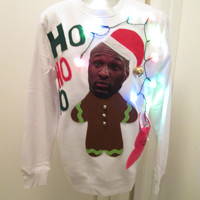 Small Ugly Christmas Sweater Lamar Lights Up Funny Christmas Sweater Made Upon A brand New Everlast Sweatshirt FAST SHIPPING !!