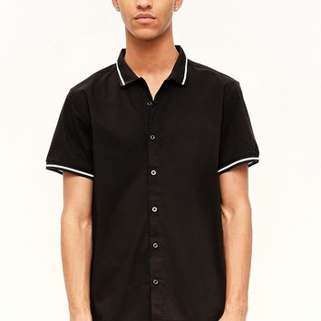 Striped Contrast Button-Front Shirt