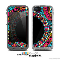 The Vector Colored Aztec Pattern WIth Black Connect Point Skin for the Apple iPhone 5c LifeProof Case