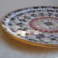 Vintage Mosaic Plate Mid Century Wall Hanging Japan, Speckled Tiles Hearts Purple Lavender Black White Rose Pink Gold