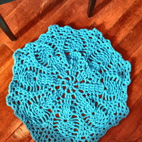 """Thick and Soft Crochet 29"""" Round Pineapple Doily Area Rug (shown in Teal Blue) Many Color Choices Soft Handmade Mat Housewares"""