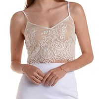 White Nude-Lined Eyelash Lace Crop Top by Charlotte Russe