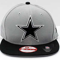 NFL Dallas Cowboys New Era 9FIFTY Snapback Hat Special Back Embroidery Mark Backer Adult One Size Gray Black Football Cap