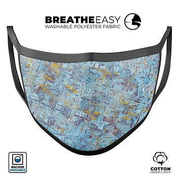 Abstract Wet Paint Blue Crossed - Made in USA Mouth Cover Unisex Anti-Dust Cotton Blend Reusable & Washable Face Mask with Adjustable Sizing for Adult or Child