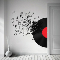 Vinyl Record Blowing Music Notes Decal for housewares