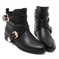 Black PU Cross Buckle Strap Detail Pointed Ankle Boots