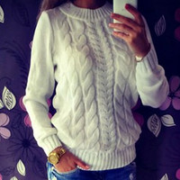 Casual fashion hollow out knitted sweater