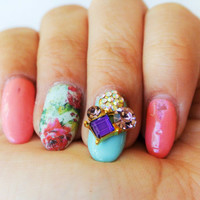 2 pc of purple cluster 3d nail charm