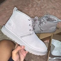 UGG hot-selling snow lace-up Martin boots fashion simple hand-sewn non-slip high-top boots fashion men and women Shoes Gray
