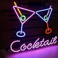 New Cocktail Martini Real Glass Neon Light Sign Beer Bar Cocktails Sign L39