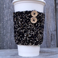 Black Marled Coffee Cup Cozy with Two Natural Wood Buttons, Coffee Cup Sleeve, Travel Mug Cozy, Black and Tan Marled, Black and Gold, Koozie